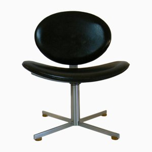 Black Leather Swivel Lounge Chair, 1970s