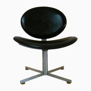 Poltrona girevole in pelle nera, anni '70
