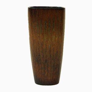 Jarrón de cerámica marrón de Gunnar Nylund para Rörstrand, años 50