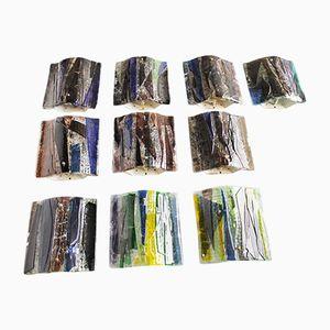Brutalistische Wandleuchten aus Glas von Raak, 1960er, 10er Set