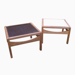 Tables Basses Carrées Bicolores et Réversibles Vintage, Set de 2