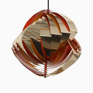 Lampe à Suspension Konkylie Modèle P483 Dorée Vintage par Louis Weisdorf pour Lyfa