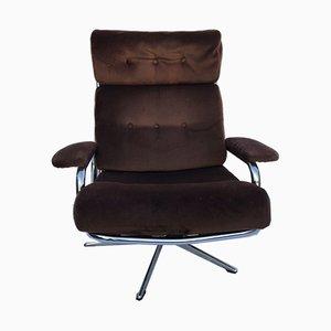Mid-Century Danish Chrome & Fabric Reclining Chair, 1950s