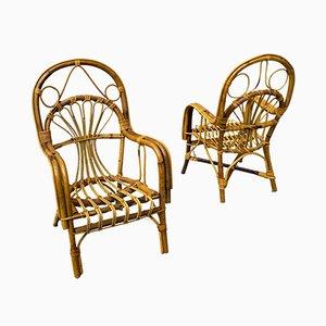 Kleine Armlehnstühle aus Korbgeflecht, 1950er, 2er Set