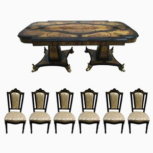 French Table and Six Boulle Chairs, 1950s