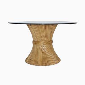 Mesa de comedor con base en forma de gavilla de trigo de bambú de McGuire, años 70