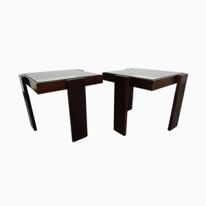 Italian Modernist Stackable Tables in Teak and Glass, 1960s, Set of 2