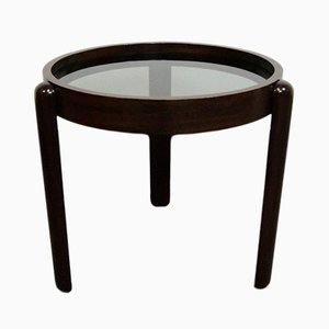 Italian Round Coffee Table in Teak and Smoked Glass, 1960s