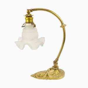 Lámpara de mesa vintage de bronce y vidrio