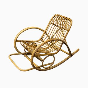 Small Rattan Rocking Chair, 1950s