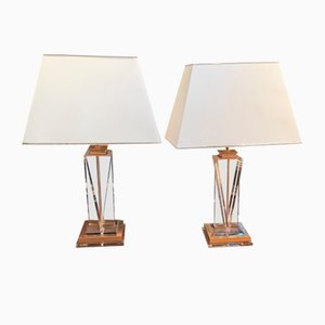 Lucite & Brass Table Lamps, 1970s, Set of 2