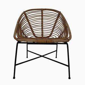 Italienischer Patio Stuhl aus Rattan, Korbgeflecht & Eisen, 1960er
