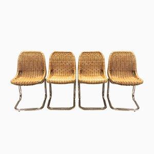 Esszimmerstühle aus Rattan von Dirk van Sliedregt für Rohé Noordwolde, 1970er, 4er Set