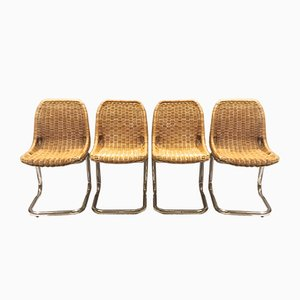 Rattan Dining Chairs by Dirk van Sliedregt for Rohé Noordwolde, 1970s, Set of 4