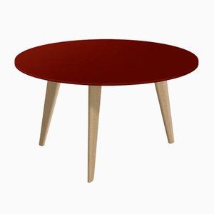 Großer BIDULE Couchtisch mit rot lackierter Tischplatte & natürlichen Eichenfüßen