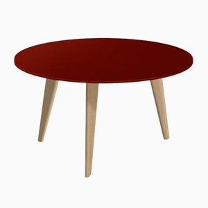 Large BIDULE Coffee Table with Red Lacquered Top & Natural Oak Feet