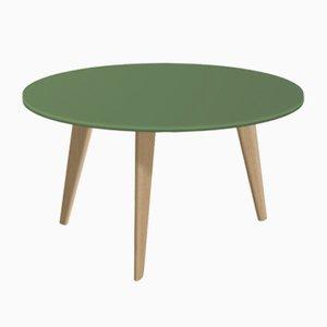Grande Table Basse Bidule avec Plateau Laqué Vert et Pieds en Chêne Naturel par Henri Tujague