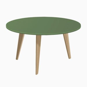 Large BIDULE Coffee Table with Green Lacquered Top & Natural Oak Feet by Henri Tujague