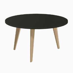 Large BIDULE Coffee Table with Black Lacquered Top & Natural Oak Feet by Henri Tujague