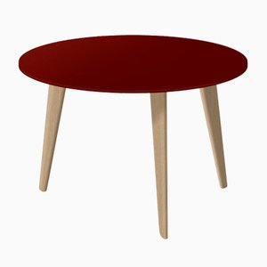 Medium BIDULE Coffee Table with Red Lacquered Top & Oak Feet by Henri Tujague