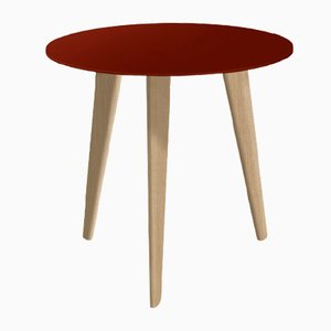 Small BIDULE Coffee Table in Red Lacquered & Natural Oak by Henri Tujague