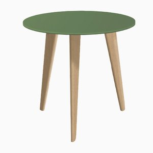 Tavolino piccolo BIDULE con ripiano laccato verde e piedi in quercia naturale di Henri Tujague