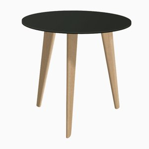 Small BIDULE Coffee Table with Black Lacquered Top & Oak Feet by Henri Tujague