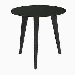 Petite Table Basse BIDULE avec Plateau Laqué Noir et Pieds en Chêne par Henri Tujague
