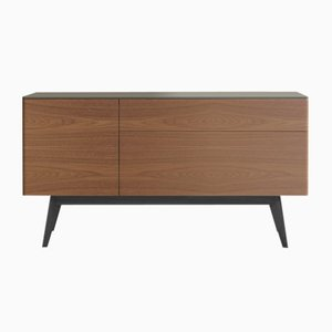 TRIO Sideboard with Foam Lacquered Top, Natural Walnut Front & Black Oak Feet by Henri Tujague