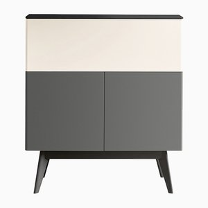 MANEGA Grey & Cream Lacquered Cabinet with Black Oak Top & Feet by Henri Tujague