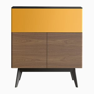 MANEGA Secretaire with Black Oak Top & Yellow Lacquered Finish by Henri Tujague