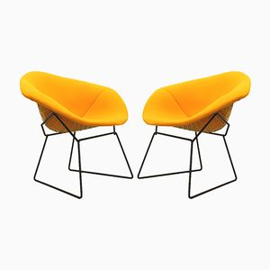Yellow Diamond Chairs by Harry Bertoia for Knoll, 1970s, Set of 2