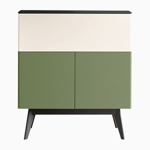 MANEGA Secretaire with Green Lacquered Front by Henri Tujague