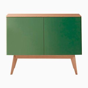 BOC Sideboard with Natural Oak Top & Feet & Green Lacquered Front by Henri Tujague