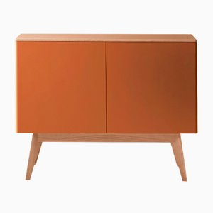 BOC Sideboard with Natural Oak Top & Feet & Orange Lacquered Front by Henri Tujague
