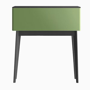 PIC Black Secretaire with Oak Top & Green Lacquered Front by Henri Tujague