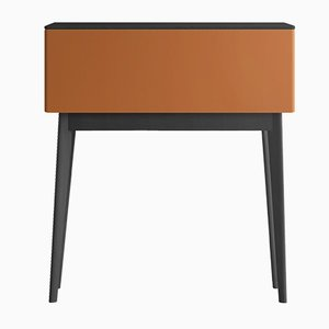 PIC Secreatire with Black Oak Top & Feet & Orange Lacquered Front by Henri Tujague