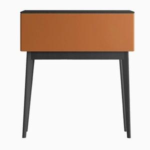 PIC Sekretär mit Oberfläche & Füßen aus Eiche und orange lackierter Vorderseite von Henri Tujague