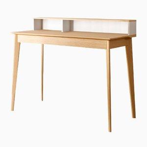 ESCRIBE Schreibtisch mit Oberfläche & Füßen aus natürlicher Eiche und weiß lackiertem Element von Henri Tujague