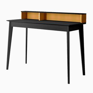 ESCRIBE Desk with Black Oak Top & Feet & Yellow Lacquered Element by Henri Tujague