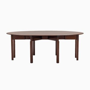 Large Vintage Drop-Leaf Mahogany Dining Table from Nordiska Kompaniet