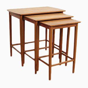 Tables Empilables en Teck, 1950s, Set de 3