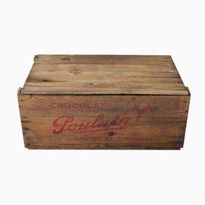 Caja vintage de madera de chocolate de Poulain