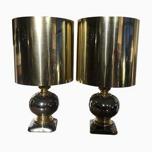 Ceramic & Metal Table Lamps, 1970s, Set of 2