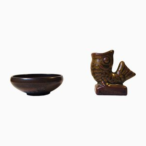 Scodella e vaso a forma di pesce Mid-Century in ceramica di Laurids Hjorth, anni '50, set di 2