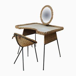 Tocador de ratán con silla y espejo, años 60