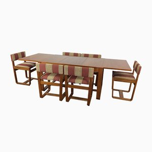 Tavolo e sei sedie da pranzo Mid-Century di Gunther Hoffstead per Uniflex