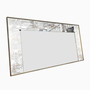 Großer Eglomisé Spiegel mit Holzrahmen & Messingständer, 1950er