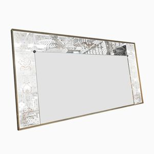 Large Eglomisé Mirror with Wooden Frame and Brass Stand, 1950s