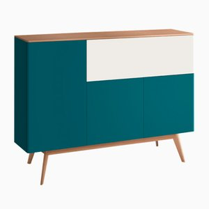BAÜT Sideboard with Petrol Blue Lacquered Front by Henri Tujague